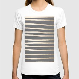 Simply Drawn Stripes White Gold Sands on Storm Gray T-shirt