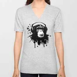 Monkey Business - White Unisex V-Neck