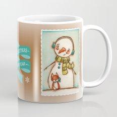 Fox and Friend - Snowman and Fox in the snow Mug