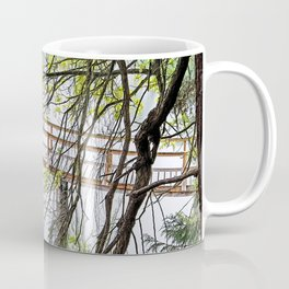 RAINY SPRING DAY AT THE DOCK IN THE WOODS Coffee Mug