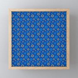 Hanukkah Neck Gator Chanukah Blue Menorah Framed Mini Art Print