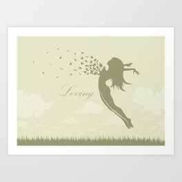 girl with butterflies in a jump Art Print