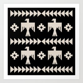 Southwestern Eagle and Arrow Pattern 121 Black and Linen White Art Print
