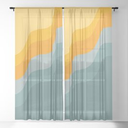 Zen Waves Abstract Geometric Art in Sunset Colors of Ocean and Sun Sheer Curtain