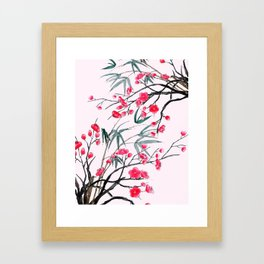 bamboo and red plum flowers in pink background Framed Art Print