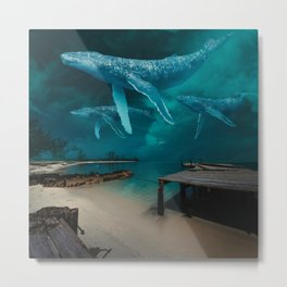 Night Whale Watching Metal Print