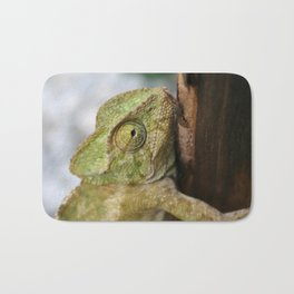 Green Chameleon Holding On To A Shed Door Bath Mat