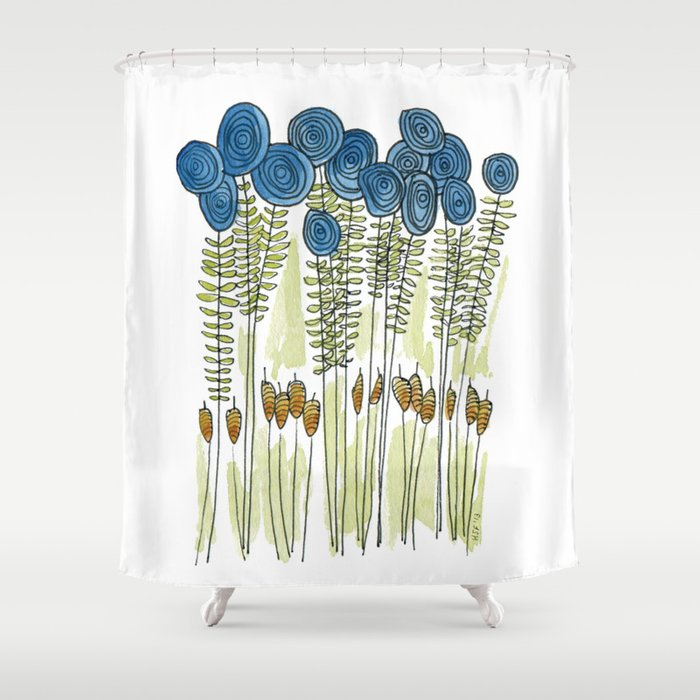 Tall Skinny Blue Flowers With Cattails Shower Curtain