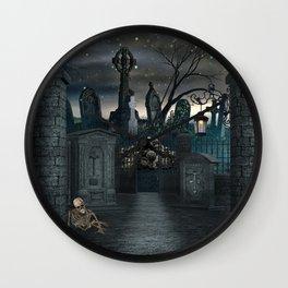 Graveyard #1 * Halloween Churchyard Scary Spooky Skeleton Tombstone Creepy Wall Clock