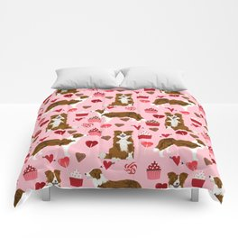 Border Collie red coat cupcakes valentines hearts dog breed pet friendly gifts for collie lovers Comforters