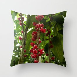 Red Flowers with Green leaf background Throw Pillow