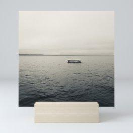 Lone Boat on Lake Mini Art Print