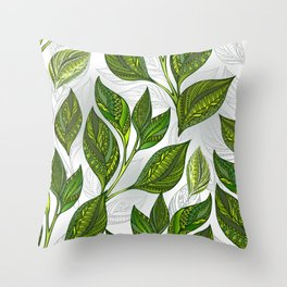 Seamless Pattern with Green Tea Leaves Throw Pillow