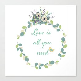 Love Is All You Need-Birds and floral Canvas Print