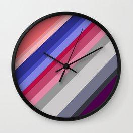 grey blue pink purple stripes Wall Clock