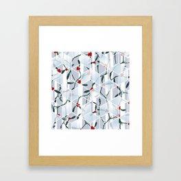 Geometric Mistletoe Holiday Design Framed Art Print
