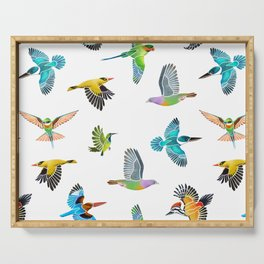 Colourful birds of Singapore Serving Tray
