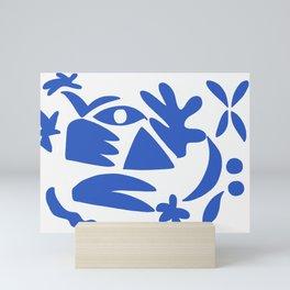 blue shapes on white background 2 Mini Art Print