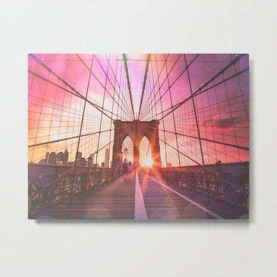 New York City Brooklyn Bridge Sunset Metal Print