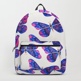 Blue pink and metallic butterfly Backpack