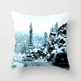 Scenic drive in snow Throw Pillow