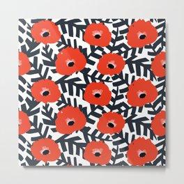 Summer Poppy Floral Print Metal Print
