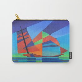 Cubist Abstract Junk Boat Against Deep Blue Sky Carry-All Pouch