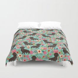 Doxie Florals - vintage doxie and florals gift gifts for dog lovers, dachshund decor, chocolate doxi Duvet Cover