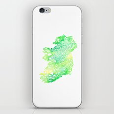Typographic Ireland - Green Watercolor iPhone & iPod Skin
