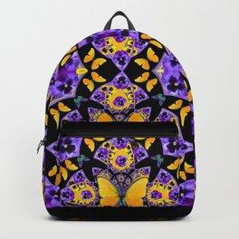 BLACK-GOLD-PURPLE BUTTERFLIES PANSY KALEIDOSCOPE Backpack