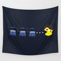 pacman Wall Tapestries featuring Doctor Pacman by Elizabeth A