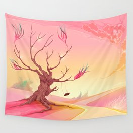 Romantic landscape with tree and sunset Wall Tapestry