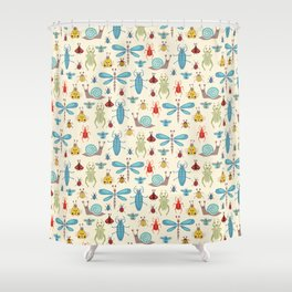 Little Bugs & Mini Beasts on Cream Shower Curtain