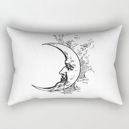 Man On The Moon Crescent Moon Black on White Rectangular Pillow