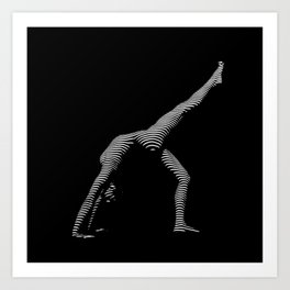 9466s-DJA BW Zebra Striped Nude Woman Yoga Pose Art Print