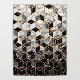 Marble Cubes - Black and White Poster