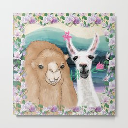 Llama bride and camel groom wedding photo art Metal Print