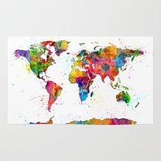 Map of the World Map Watercolor Rug