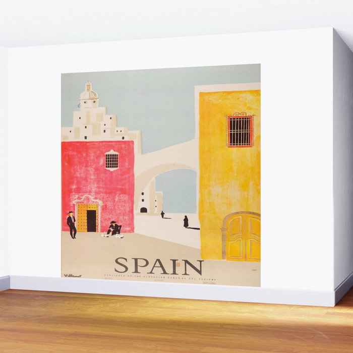 Spain Vintage Travel Poster Mid Century Minimalist Art Wall Mural