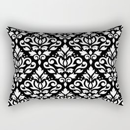 Scroll Damask Big Pattern White on Black Rectangular Pillow
