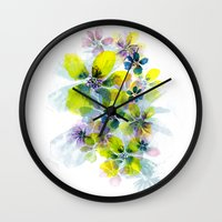 fireworks Wall Clocks featuring Fireworks by La Rosette Illustration