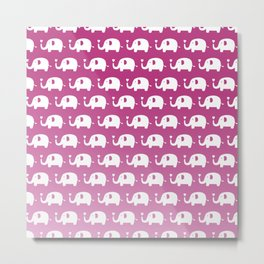 Elephants in Love (Pink) Metal Print