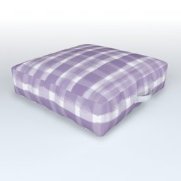 Watercolor Brushstroke Plaid Pattern Pantone Chive Blossom Purple 18-3634 on White Outdoor Floor Cushion