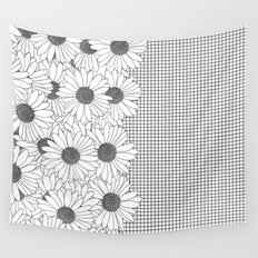 Daisy Grid on Side Wall Tapestry