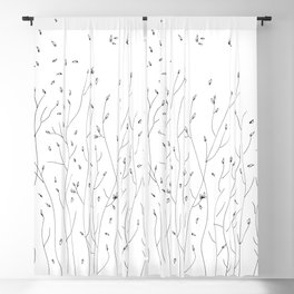Garden in the Fall Doodle Ink Art Blackout Curtain