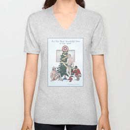 Team Cap Nice Pinup Holiday Card Unisex V-Neck