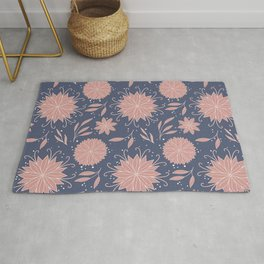 Floral Pattern: Flowers and Leaves Ornament in Muted Blue and Dust Rose Colors  Rug