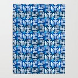 Mid Century Menorah for Hanukkah Poster