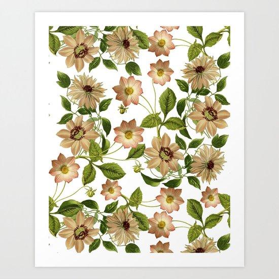 Floral retro vintage pattern pastel colored Art Print