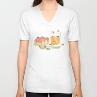 insect V-neck T-shirts featuring Insect Party by Lili Batista